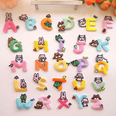 26 Letters Embroidery Patches Set Iron-On Sewing Applique Clothes Decor Nice