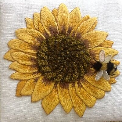 Sunflower and Bumblebee Study- Crewel embroidery kit