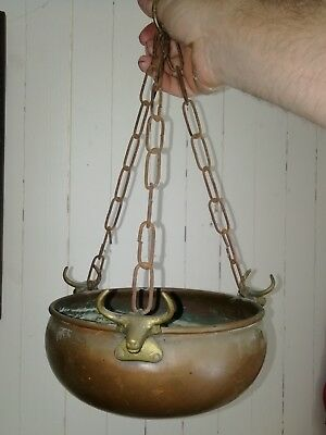 Old  copper & brass hanging planter with bulls heads