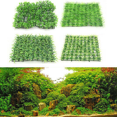 Aquarium Plastic Artificial Grass Lawn Fish Tank Landscape Water Plant Ornaments