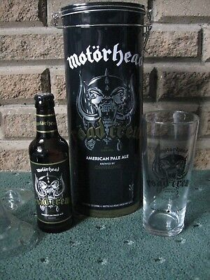 Motorhead Road Crew Beer Gift Tin With Glass & Emptied Bottle