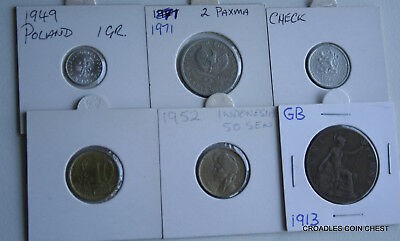 6 X Mixed World Coin's General Mix Modern World In 2X2 Holders #vry10