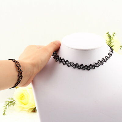 New Magic Tattoo Choker Necklace And Bangle Set Stretch Fit Bracelet Thick HU