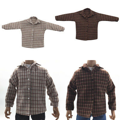 2PCS 1/6 Scale Man's Cool Plaid Shirt for 12'' Phicen Kumik Figure Hot Doll