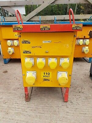 One Yellow 10 KVA Single 1 phase 110 volt Electrical Site Transformer £160+vat