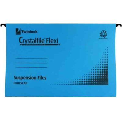 Rexel Crystalfile Flexi Standard Foolscap Blue (Pack of 50) [TW13772]