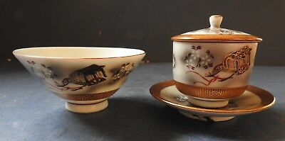 Japanese Kutani Porcelain Lidded Pot & Bowl - Early 20Th Century