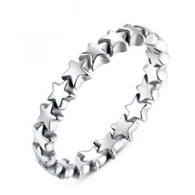 Women Silver Plated Jewelry Star Shape Engagement Wedding Party Ring Size 5-12