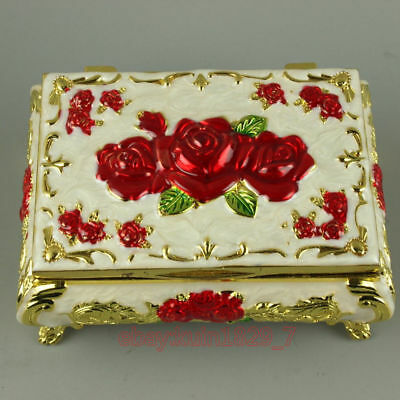 Exquisite Rare China Old Cloisonne Carving Usable Jewel Box CQ297