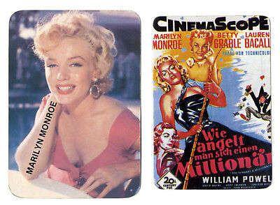"2 x Marilyn Monroe PORTUGAL POCKET CALENDAR CARDS 1988 / 1992  "" No Film """
