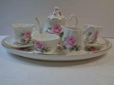 Crown Victorian Bone China Miniture Tea Set Pink Rose Staffordshire England Exc