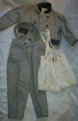 """JUNIOR"" Child Wool Suit Pants Jacket Suspenders Boys Size 2 Antique Vintage!"