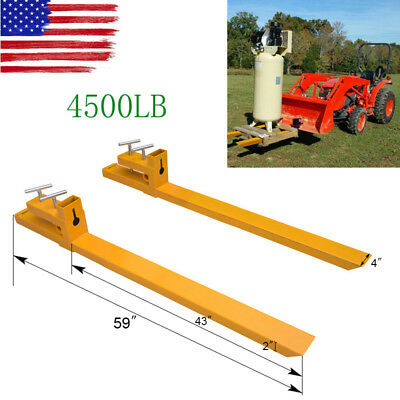 Clamp on 4500lbs Capacity Pallet Forks Loader Bucket Skidsteer Tractor Chain 59""