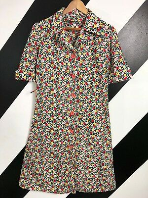Vintage Retro 60s/70s dress/overall floral, coral buttons, workwear size 16