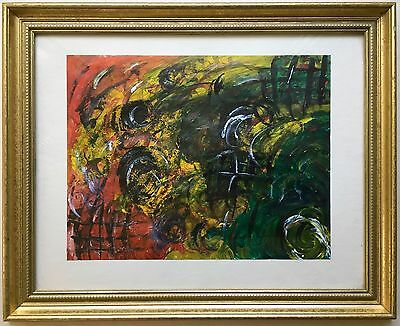 """Modern Art Original Abstract Acrylic Painting """"Abstraction 1-A"""" SIgned Framed"""