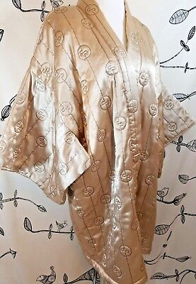 Vtg Carol Little Gold Embroidered Quilted Satin Asian Kimono Robe Bed Jacket M
