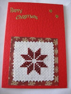 Christmas Card Completed Cross Stitch Red Star 6x4""