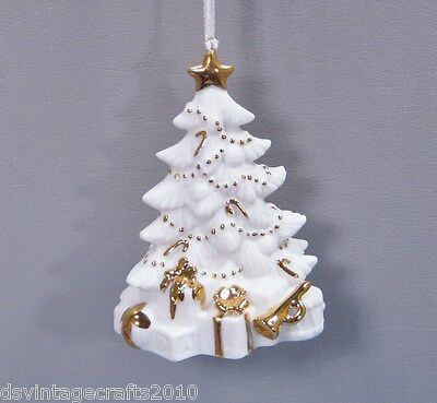 Christmas Tree & Presents White Porcelain & Gold Trim Holiday Ornament #129