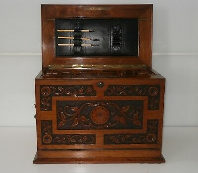 Outstanding Quality Victorian Bramah Lock Writing Cabinet c1890
