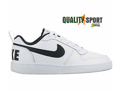 4112174183c Nike Court Borough Low Bianco Nero Scarpe Shoes Donna Sneakers 839985 101