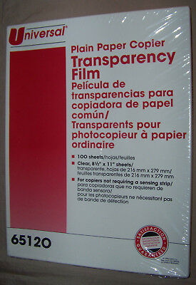 "NEW 100 Sheets UNIVERSAL 65120 PLAIN PAPER COPIER TRANSPARENCY FILM 8.5"" x 11"""