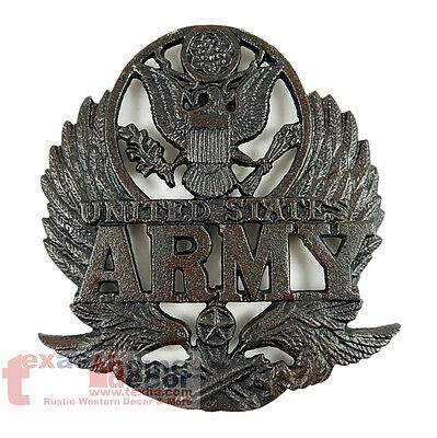 United States Army Cast Iron Trivet Wall Plaque Eagle Rustic Decor 8 x 7.5 inch