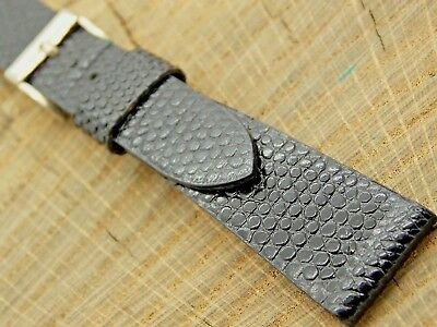 NOS Vintage Unused Mens Black Leather Watch Band with Silver Tone Buckle 17.5mm