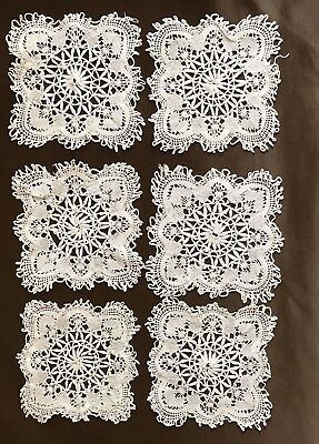 Six Antique Hand Made Lace Doily Coasters 4""