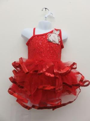 Dance Costume Small Child Red White Weissmans Ballet TapSolo Competition Pageant