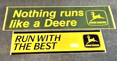 John Deere Bumper Stickers - Vintage - Nothing Runs Like & Run With The Best