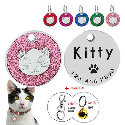 Cat Tags Personalized Engraved Small Pet Kitten ID Name Collar Tag Glitter 25cm