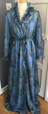 Elizabeth Hayes Vintage 1960's Negligee And Gown Set Blue Paisley Size 36 Rare