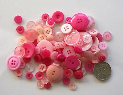 Pink Buttons - 100 Mixed Pack - New - Scrapbooking Sewing Craft Patchwork