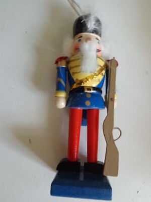"""BLUE & RED KING WOODEN NUTCRACKER RIFLE ORNAMENT MOVING LEVER 5 1/2"""" x 1 1/2"""""""