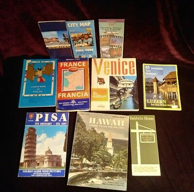 Lot of vintage tour guides and maps France Hawaii Palau Venice Luzern Munich
