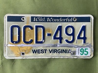 Guc Vintage 1995 West Virginia Auto License Plate Wv Usa Ocd 494 Map 90S Good