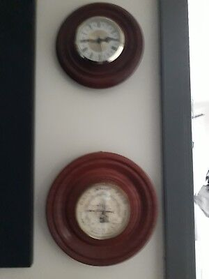 Barometer/thermometer & clock (set in redar cedar) - hand crafteed -reproduction