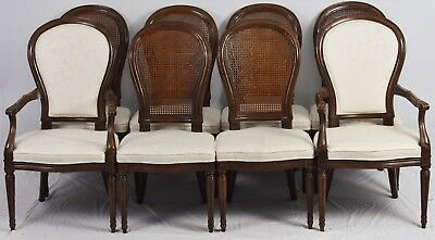 Set 8 Henredon French Provincial Regency Dining Room Chairs Damask Fabric