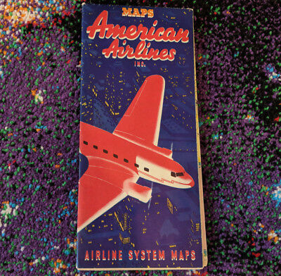RARE Vintage 1930's American Airlines Collectible System Route Map