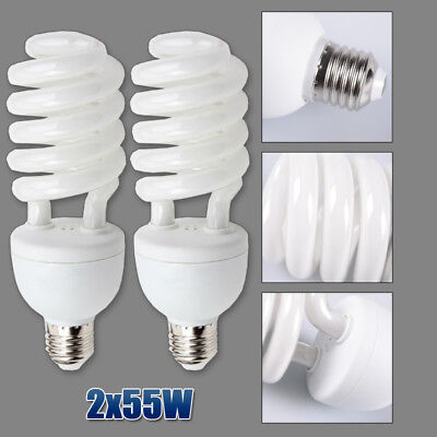 2x 55W Softbox Continuous Lighting Bulbs Photo Studio Softbox Lamp 5500K E27