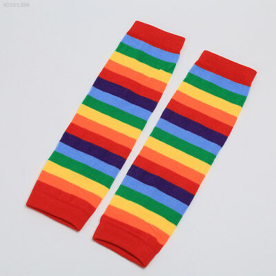 2C53 Baby Girl Winter Leg Warmer Tights Cotton Sunny Rainbow Stripes Socks