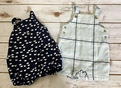 Janie and Jack One Piece Romper Lot Boy's Size 3-6 Months Whales Blue Plaid