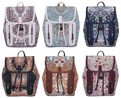 Turkish Ottoman Style Backpack College School Bag Vintage Faux Leather Rucksack