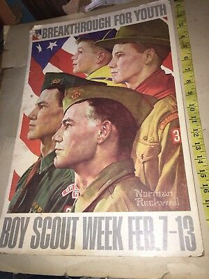 "Boy Scout Cardboard Poster ""Breakthrough For Youth"" Old Vintage BSA 1970s Scouts"