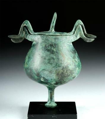 Greek Bronze Lidded Pyxis - Abstract Birds Lot 12F