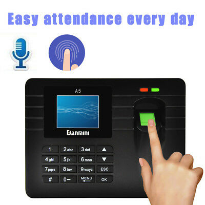 A5 TFT Punch Attendance USB Password Fingerprint Time Recorder Clock Employee BK