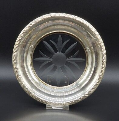 "VINTAGE AMSTON STERLING SILVER AND CUT CRYSTAL UNDERPLATE DISH 6 5/8"" 103.8 Gram"