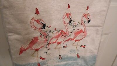 Christmas Table Runner With Pink Flamingo On Each End,they Have Lights In Mouth