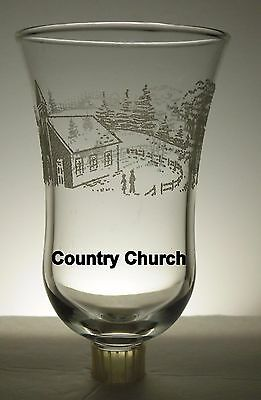Home Interiors Country Church Embossed Clear Votive Cup w/ rubber grommet