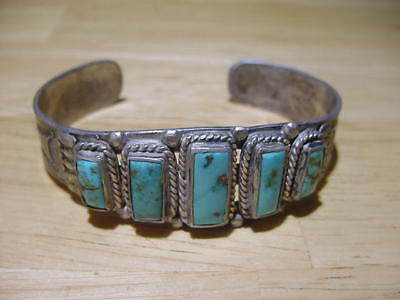 Old Pawn Vintage Navajo Zuni Indian Silver Turquoise Cuff Bracelet